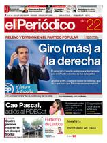 La portada de EL PERIÓDICO DE CATALUNYA del domingo, 22 de julio del 2018.