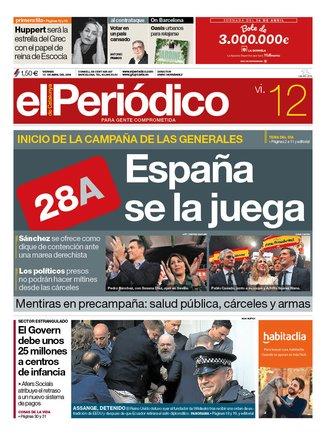 La portada de EL PERIÓDICO del 12 de abril del 2019