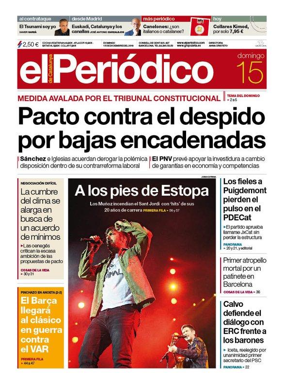 La portada de EL PERIÓDICO del 15 de diciembre del 2019.