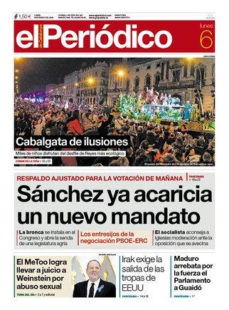 Portada de EL PERIÓDICO del 6 de enero de 2019.