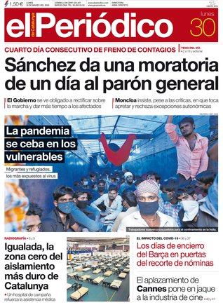 La portada de EL PERIÓDICO del 30 de marzo del 2020.