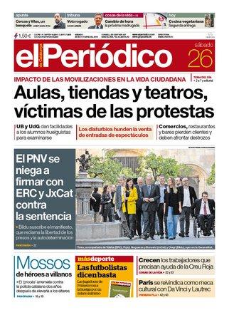 La portada de EL PERIÓDICO del 26 de octubre del 2019