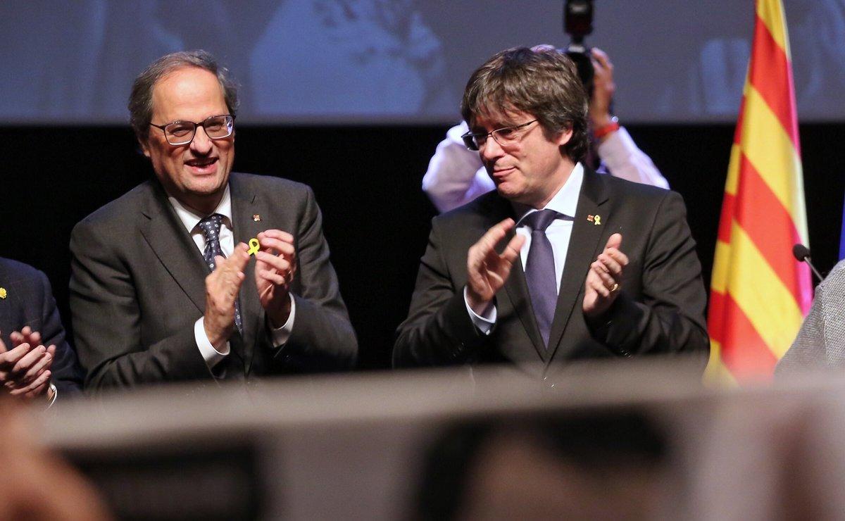 08/12/2018 El presidente de la Generalitat, Quim Torra, y el expresidente Carles Puigdemont