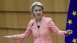 La presidenta de la Comisión Europea, Ursula Von der Leyen, en el debate sobre el Estado de la Unión en el Parlamento Europeo.