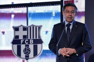 El presidente del FC Barcelona, Josep Maria Bartomeu, en una reciente aparición ante la prensa