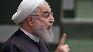 El presidente de Irán, Hassan Rohaní, en el Parlamento en Teherán.