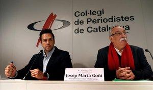 El presidente de Unauto, Eduardo Martín, y el de Unauto Catalunya, Josep Maria Goñi, en la rueda de prensa en el Col·legi de Periodistes.