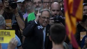 El president Quim Torra, en la manifestación por el aniversario del 20-S en Barcelona