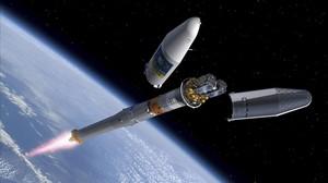 Recreación en órbita de uno de los satélites del sistema Galileo.