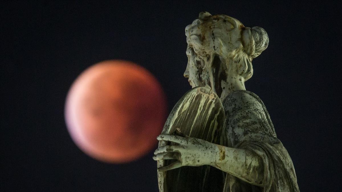 Un eclipse lunar, visto de des Fráncfort, en septiembre del 2015.