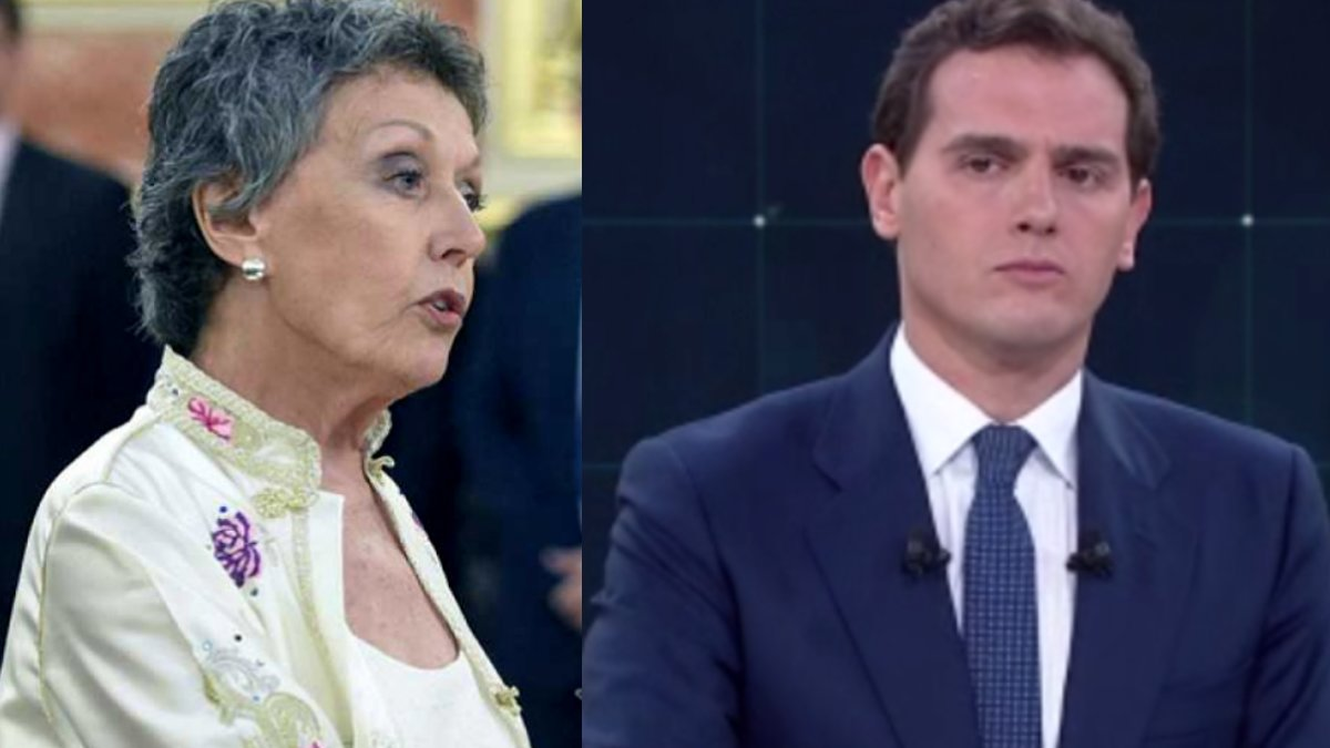 Rosa María Mateo, administradora única provisional de RTVE, y Albert Rivera, candidato de Ciudadanos a la presidencia del Gobierno.