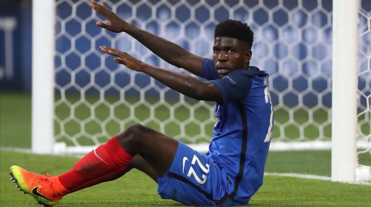 Umtiti, en un partido con Francia de la pasada Eurocopa.
