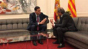 Pedro Sánchez y Quim Torra, este jueves en Pedralbes.