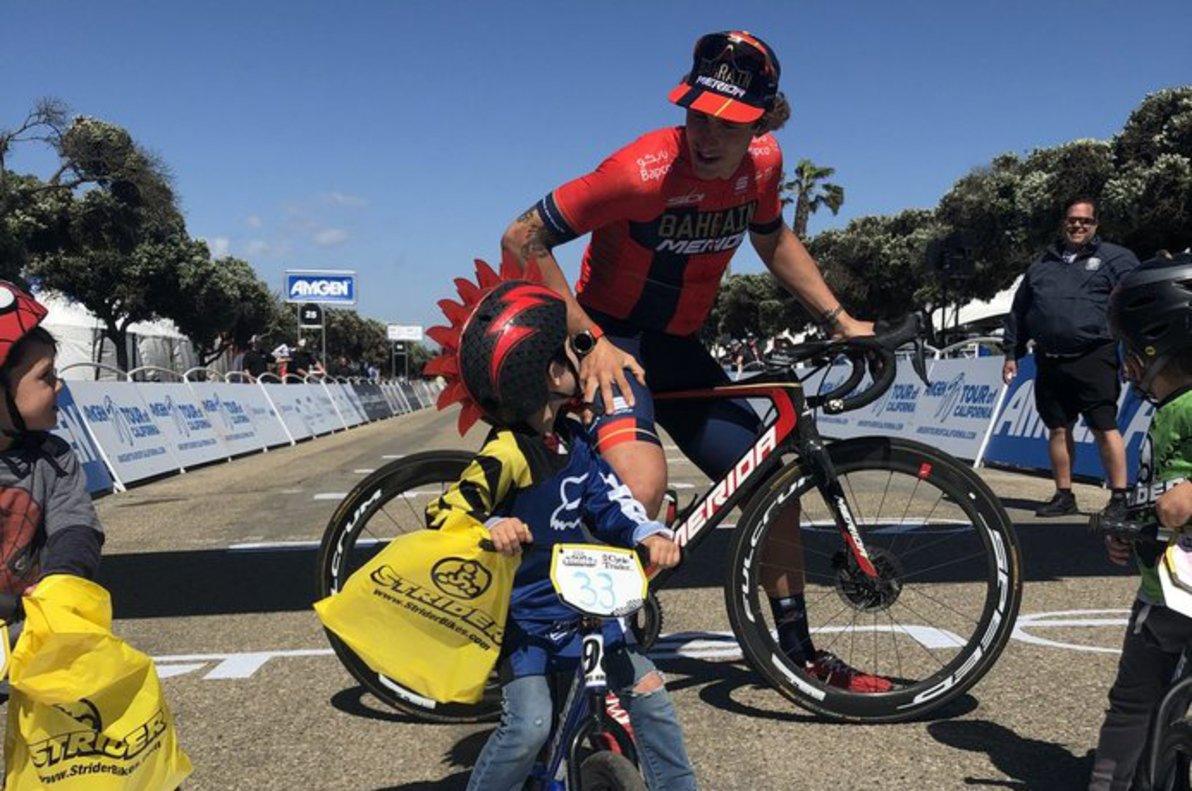 Iván García Cortina, en la meta de la quinta etapa del Tour de California, tras su victoria.