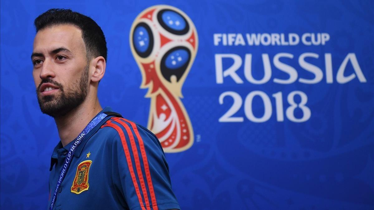 Sergio Busquets, en la sala de prensa del estadio de Kaliningrado.