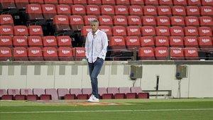 Setién, en el Barça-Osasuna del Camp Nou.
