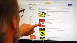 Un usuario consulta una web de subastas en busca de una placa de seguridad disuasoria.