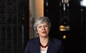 Theresa May en su comparecencia en Downing Street,