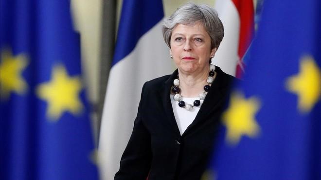 Theresa May, en un Consejo Europeo..
