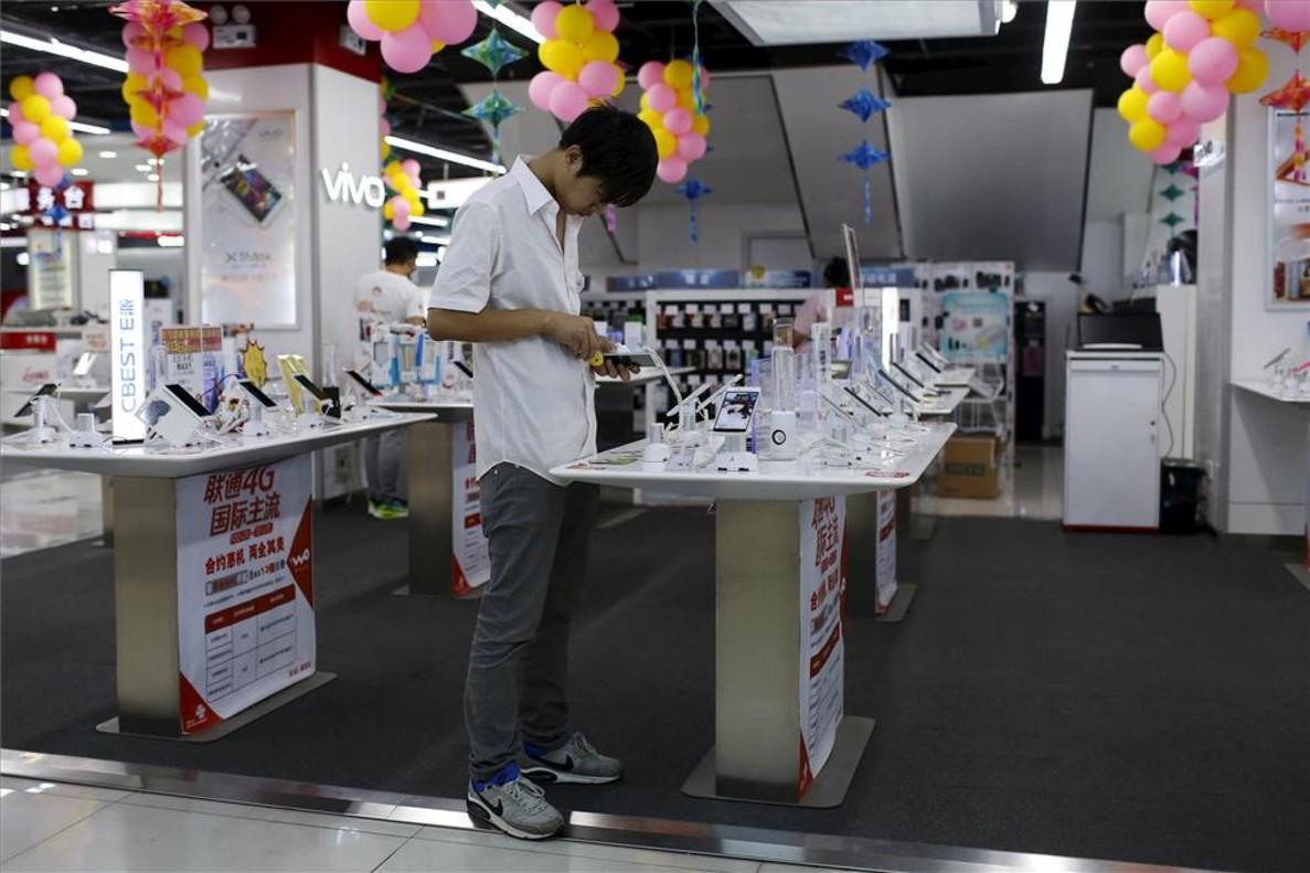 Tienda de móviles en Shanghái, China.
