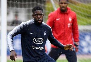 Umtiti, en un entrenamiento de la selección francesa.