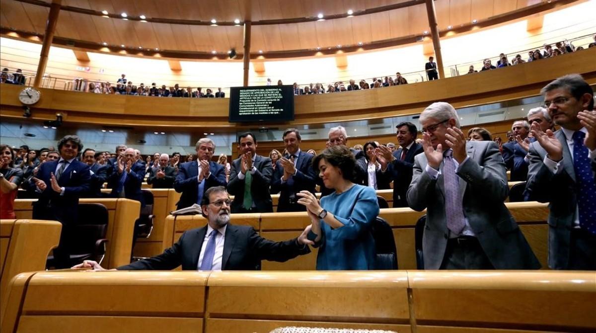 Pleno del Senado que dio su aval al Gobierno para poner en marcha el artículo 155 de la Constitución.