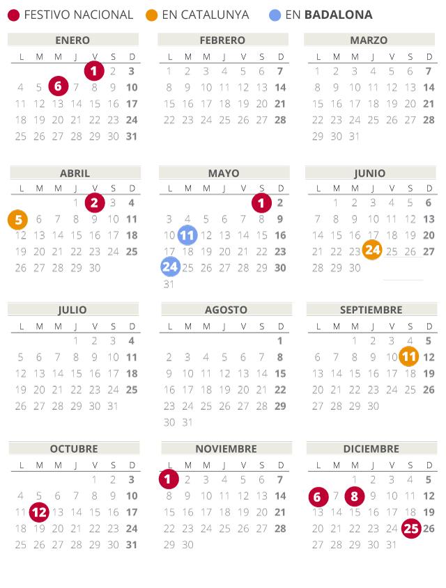 Calendario laboral de Badalona del 2021 (con todos los festivos)