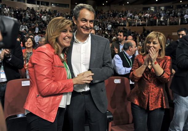 Zapatero y Susana Díaz, durante el congreso extraordinario del PSOE andaluz, en octubre del 2013.