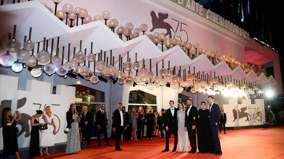 El equipo de 'La Favorita' en el Festival de Cine de Venecia del 2018.