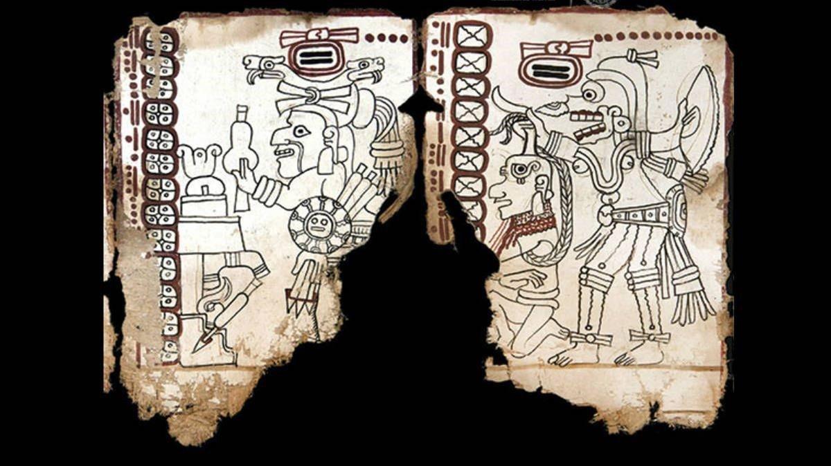 Un fragemento del Códice Maya de México.