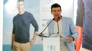 Antonio Banderas, durante su intervencion en la presentación del proyecto inmobiliario Picasso Towers.