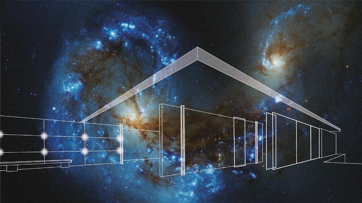 Imagen promocional del Big Band Building Light!, la intervención que llevará a cabo Mario Pasqualotto en el pabellón Mies van der Rohe en el marco del festival Llum BCN.