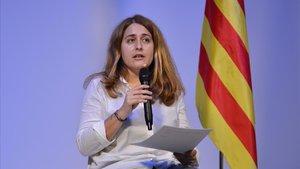 La excoordinadora general del PDeCAT,Marta Pascal, interviene tras haber sido elegida este sábado secretaria general del nuevo Partit Nacionalista de Catalunya (PNC)