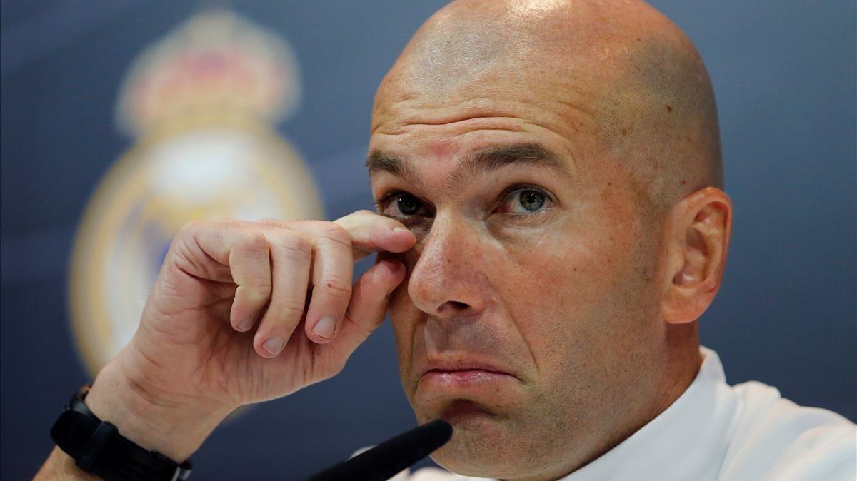Zinedine Zidane, durante la rueda de prensa de este sábado en Valdebebas.