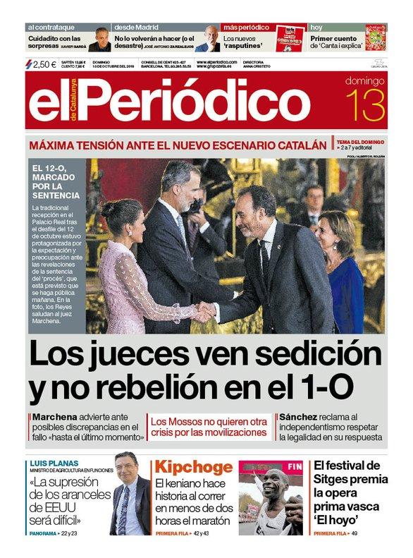 La portada d'EL PERIÓDICO del 13 d'octubre del 2019