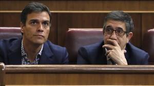 Pedro Sánchez y Patxi López, el pasado 26 de octubre en el Congreso de los Diputados.