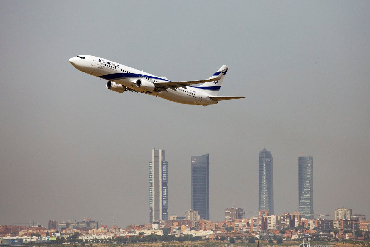 An El Al Israel Airlines Boeing 737-900ER airplane takes off from the Adolfo Suarez Madrid-Barajas airport as seen from Paracuellos del Jarama  outside Madrid  Spain  REUTERS Paul Hanna File Photo