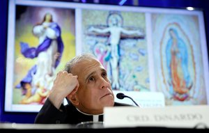 Cardinal Daniel DiNardo  president of the U S  Conference of Catholic Bishops  looks up while holding a news conference at the USCCB general assembly in Baltimore  Maryland  U S   REUTERS Kevin Lamarque