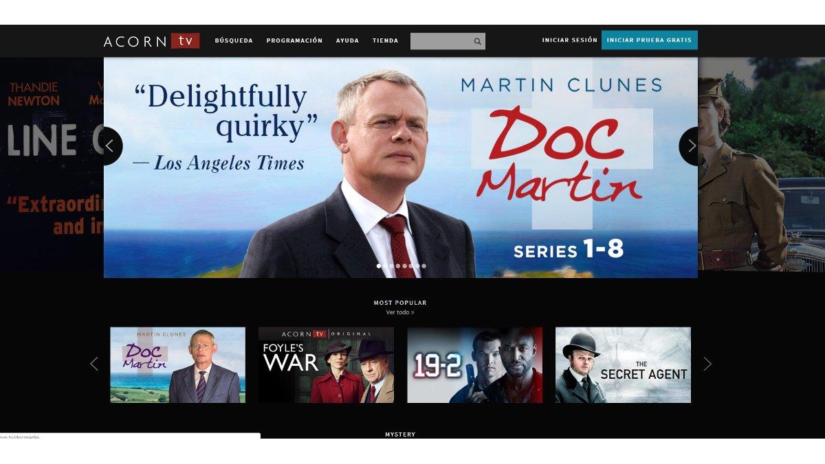 Captura de la web de la plataforma de televisión por internet Acorn TV.
