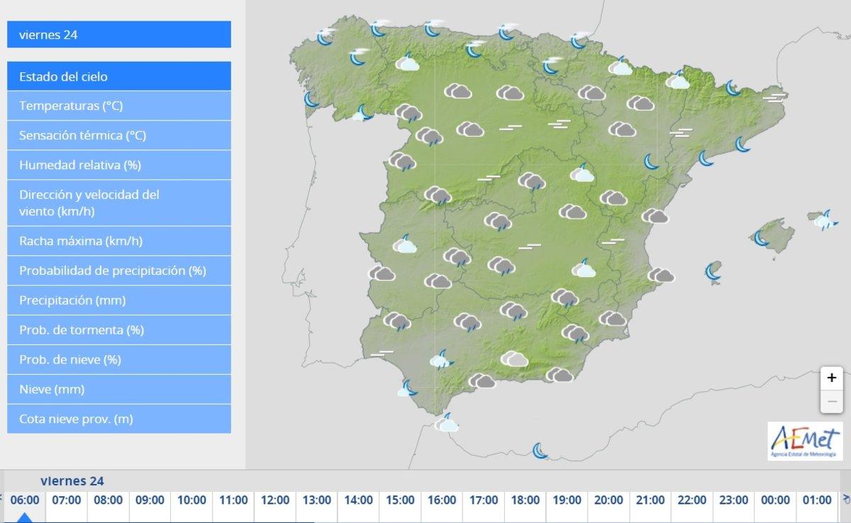 Pronóstico del clima para toda España.