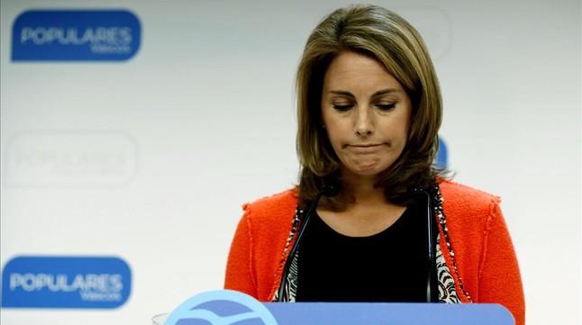 Arantza Quiroga, este miércoles, en la rueda de prensa en la que ha anunciado su dimisión como presidenta del PP vasco.