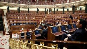 Aspecto del Congreso de los Diputados, esta mañana.