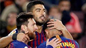 El festejo de gol del Barcelona en un triunfo ante el Eibar.