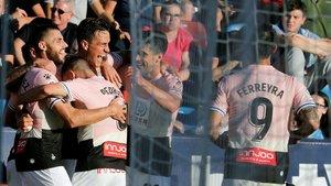 Bernardo celebra junto a sus compañeros el gol anotado contra el Levante.