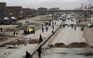 Bloqueo de carreteras en Bolivia por protestas sociales.
