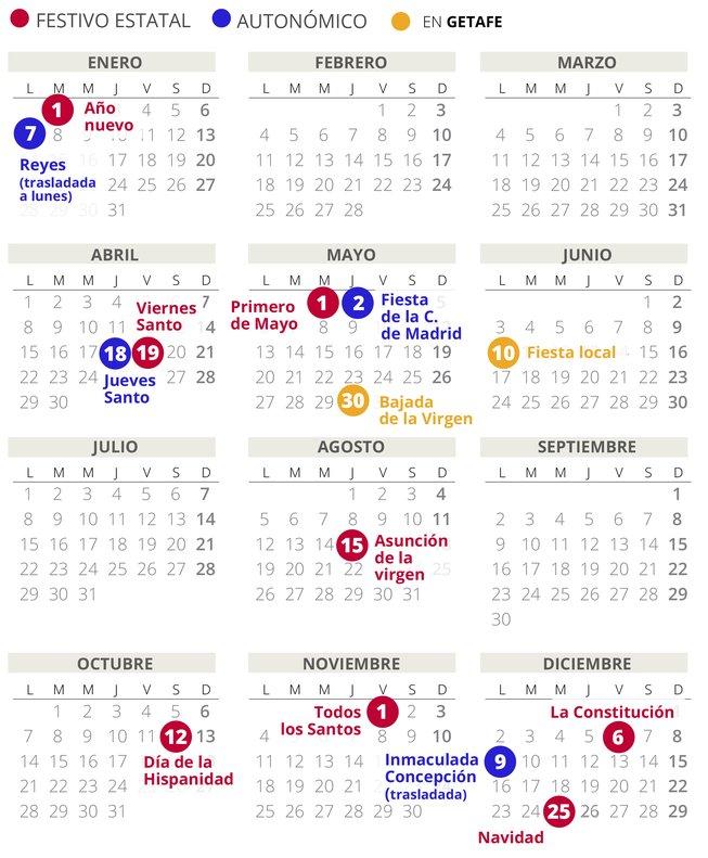 Calendario laboral 2019 Getafe