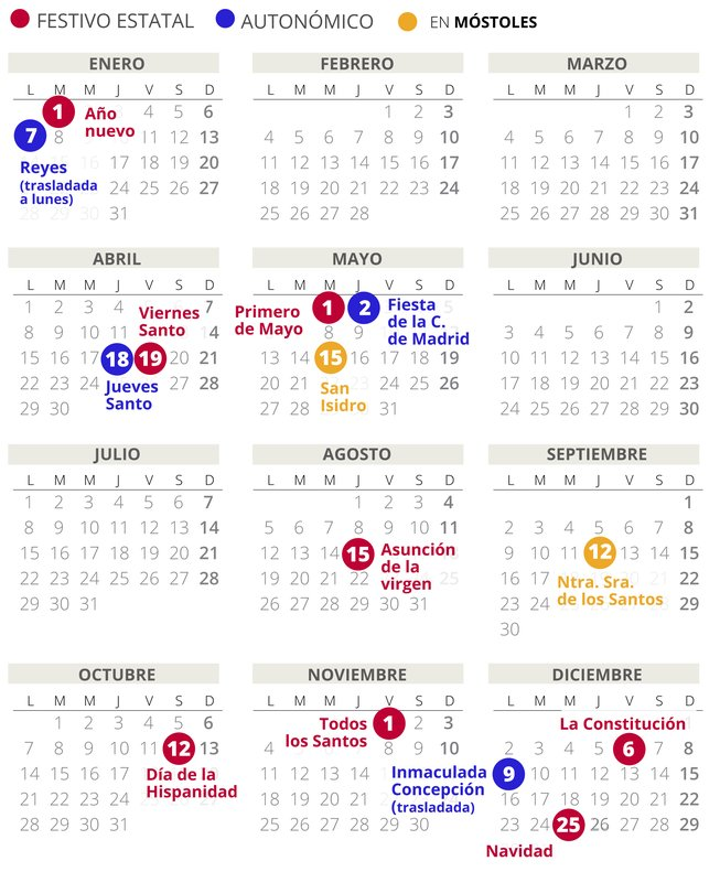 Calendario Laboral 2020 Madrid Capital.Calendario Laboral Mostoles 2019 Con Todos Los Festivos