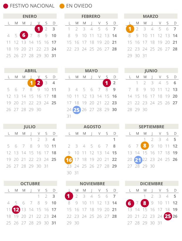 Calendario laboral de Oviedo del 2021.
