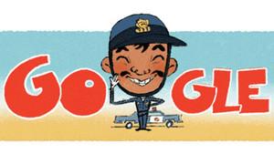 Caricatura de Cantinflas, caracterizado como en la película El Patrullero