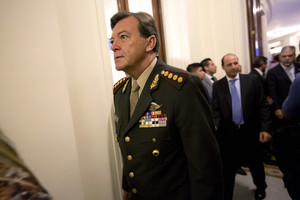FILE - In this March 1, 2015 file photo, Gen. Cesar Milani arrives to Congress for the inauguration ceremony of the 2015 legislative year in Buenos Aires, Argentina. The former army chief was detained on Friday, Feb. 17, 2017, in the Northern province of La Rioja accused of the torture and kidnapping of three people during the last military dictatorship. (AP Photo/Rodrigo Abd, File)